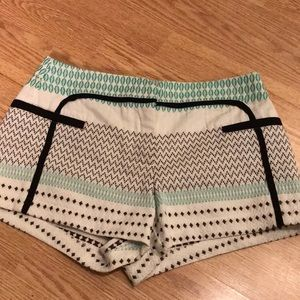 Ella Moss embroidered white and mint shorts size 2